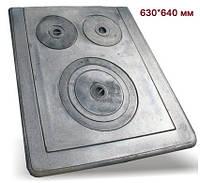 Плита чугунная 3-х конфорочная (630х640 мм)