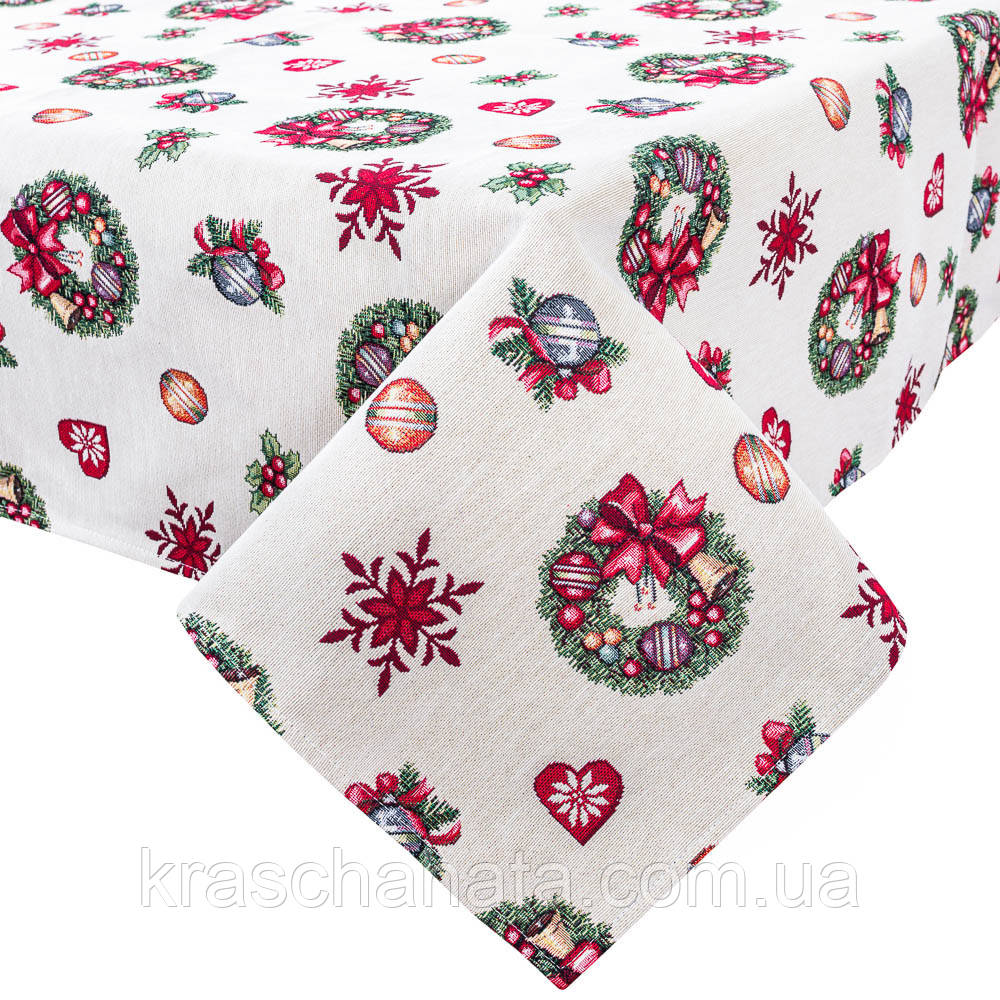 Скатерть новогодняя гобеленовая,137х220 см, Эксклюзивные подарки, Новогодний текстиль