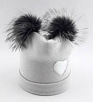 Детская шапка теплая 52 54 размер детские шапки зимние флисом помпонами теплые зимняя, фото 1