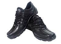 Туфли мужские спортивные натуральная кожа черные на шнуровке (07)