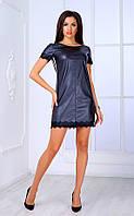 Женское платье из кожзама с кружевом и белыми вставками (черное) Poliit № 8439