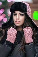 Женская шапка ушанка в комплекте с митенками Snow (разные цвета)