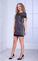 Женское платье из кожзама с кружевом и белыми вставками (коричневое) Poliit № 8439