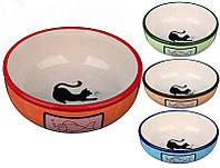 Trixiе (Трикси) Миска керамическая для кошек с рыбкой и кошкой, 0,35л/ø12,5см