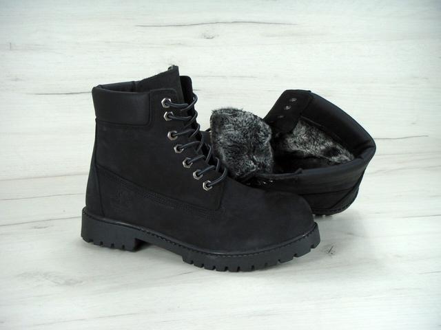 Ботинки Тимберленд Мужские Зимние Черные на меху