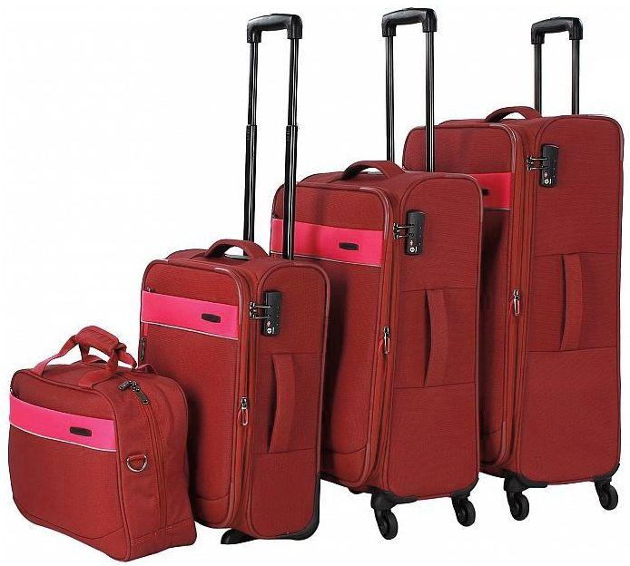 Набор тканевых чемоданов расширением размеров L/M/S и сумка, на 4-х колесах Travelite Delt TL089240-10,красный