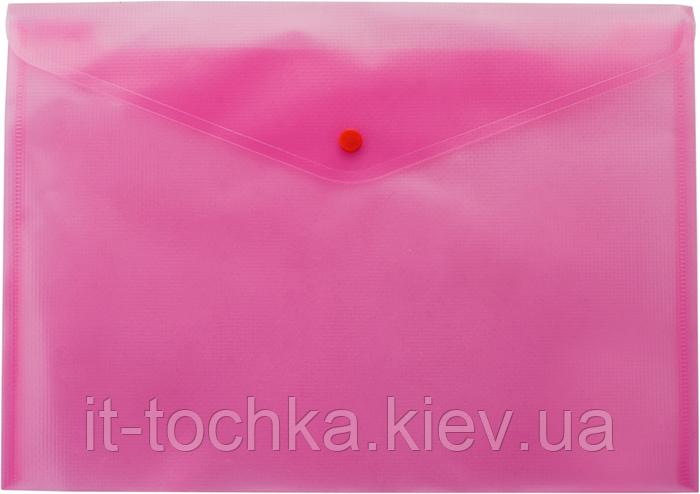 Полупрозрачная папка-конверт А4 на кнопке buromax bm.3926-10 розовая