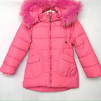 Куртка детская зимняя HAPPY #2081 для девочек. 98-116 см (3-6 лет). Ярко-розовая. Оптом.