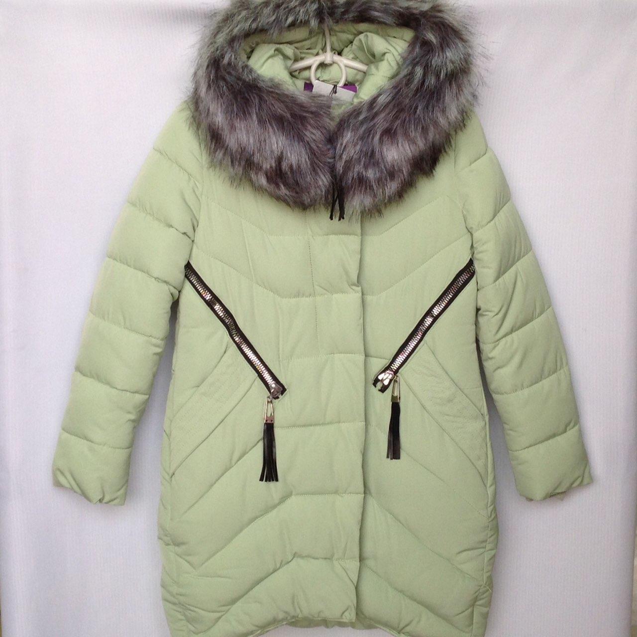 Куртка-пальто подростковая зимняя NIKA #6017 для девочек. 134-158 см (9-13 лет). Нежно-зеленая. Оптом.