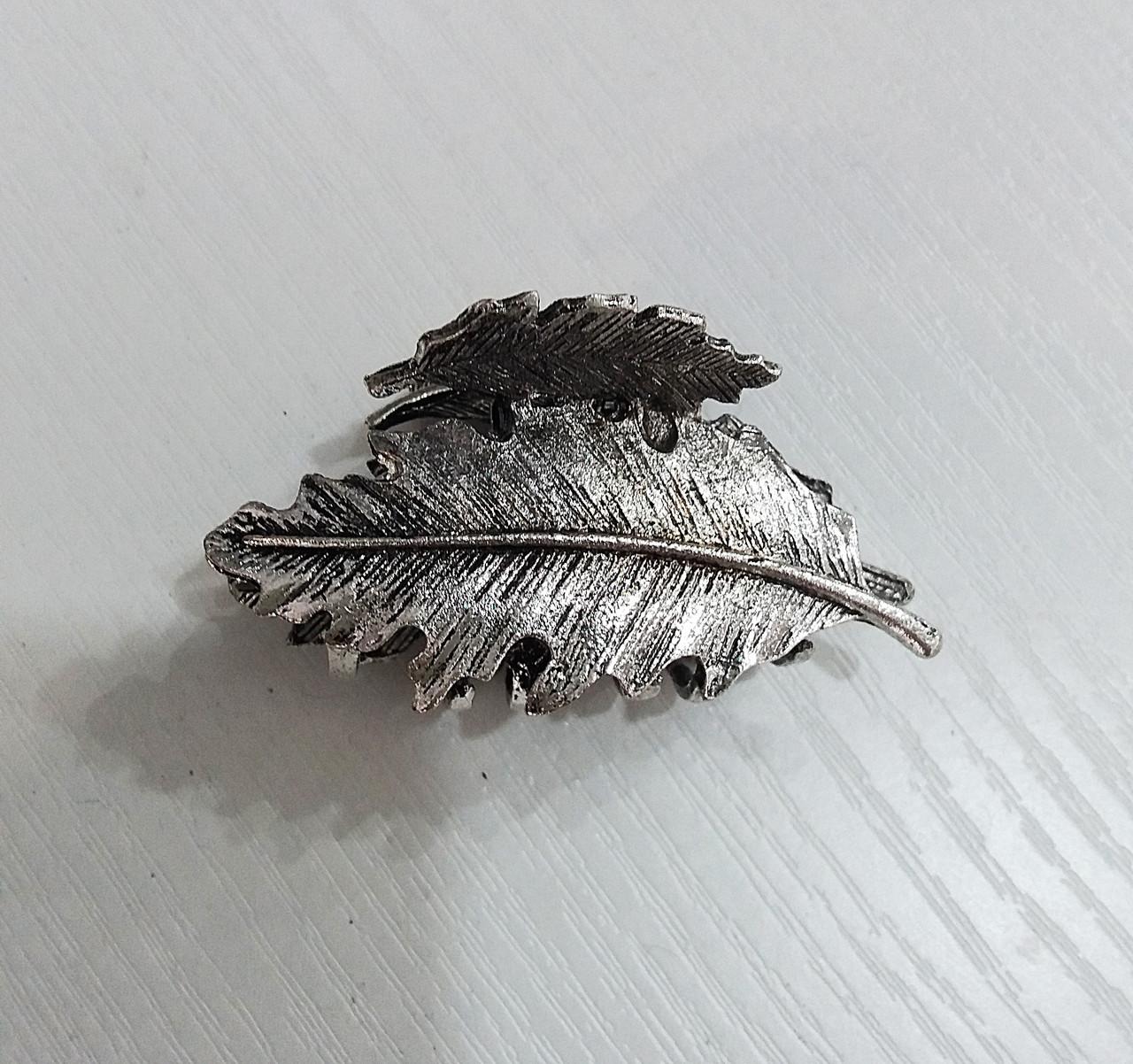 Заколка краб металл большой Листик ассорти