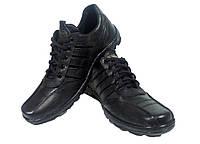Туфли мужские спортивные натуральная кожа черные на шнуровке (03)