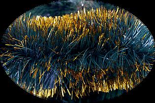 Мишура новогодняя 100 мм. Зеленая матовая с золотыми кончиками 3 метра