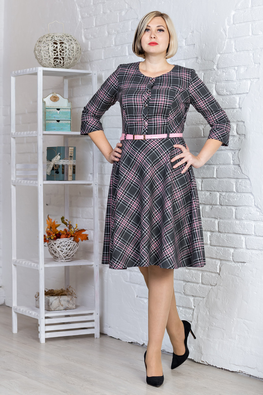 be8b256700a Шерстяное платье в зеленую клетку рукав 3 4 пояс в комплекте