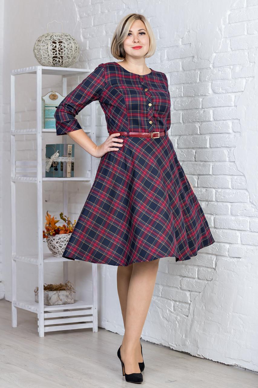 d1422a4ddc3 Элегантное офисное платье в красную клетку с поясом на талии от ...