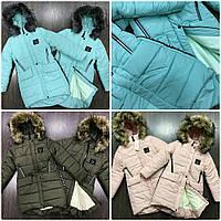 Очень теплая удлиненная куртка-пальто на подростка. Капюшон с меховой опушкой
