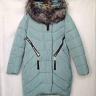 Куртка-пальто подростковая зимняя NIKA #6017 для девочек. 134-158 см (9-13 лет). Серо-синяя. Оптом., фото 1
