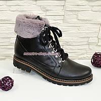 Ботинки женские кожаные зимние на прочной утолщенной подошве, фото 1