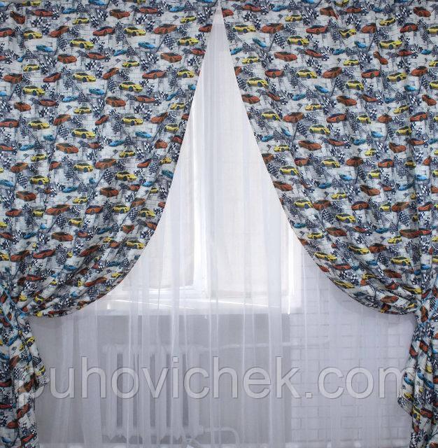 Комплект штор для детской комнаты мальчик машинки - Интернет-магазин Пуховичек в Харькове