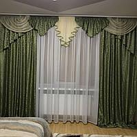 Комплект ламбрекен со шторами на карниз 3- 3.5 м. Зелёного цвета.