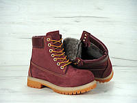 Ботинки Timberland женские бордовые на меху, фото 1