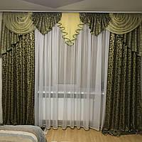 Комплект ламбрекен со шторами. Красивый набор на окошко из жаккардовой ткани.На карниз 3 - 3.5м.
