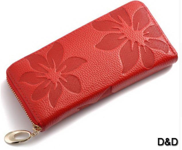 Кожаный женский кошелек красный