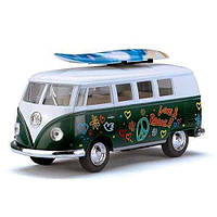 HU Машинка жел KINSMART KT 5060 WFS   инер-я, 1:32 VW CLASSICAL BUS 1962 & SURFBOARD,в кор-ке