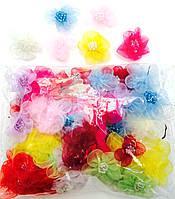Цветочки разноцветные, пришивные, диаметр 3см (100шт в упаковке)