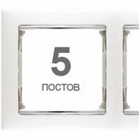 Рамка на 5 постов, белый/серебро - Legrand Valena