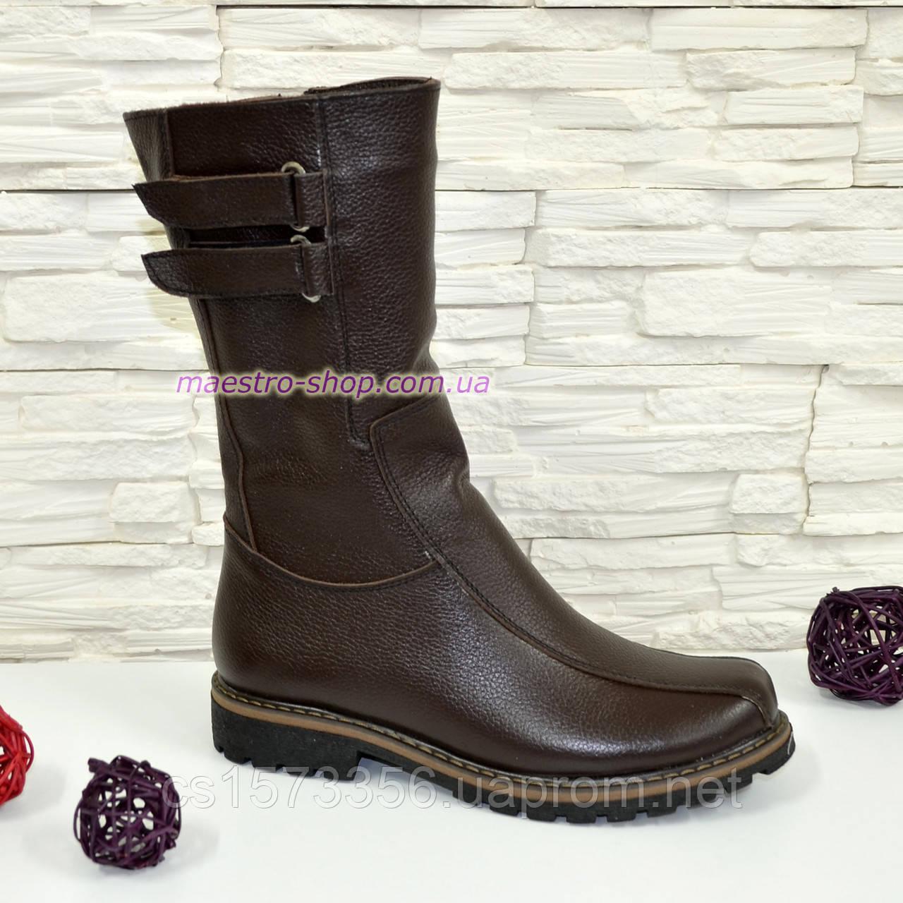 Ботинки кожаные коричневые женские демисезонные