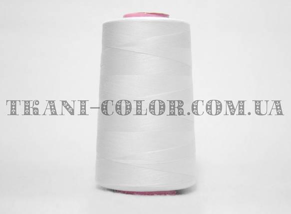 Нитка швейная 40/2 белая 4000 ярдов, фото 2