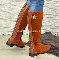 Замшевые коричневые женские сапоги демисезонные. Хит продаж!, фото 1