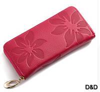Кожаный женский кошелек розовый
