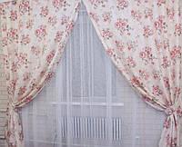 Комплект льняных штор с узором