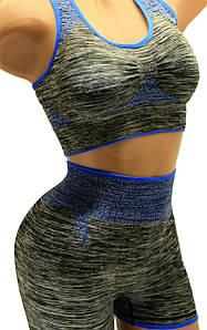 Женский спортивный комплект топ и шорты черный-синий