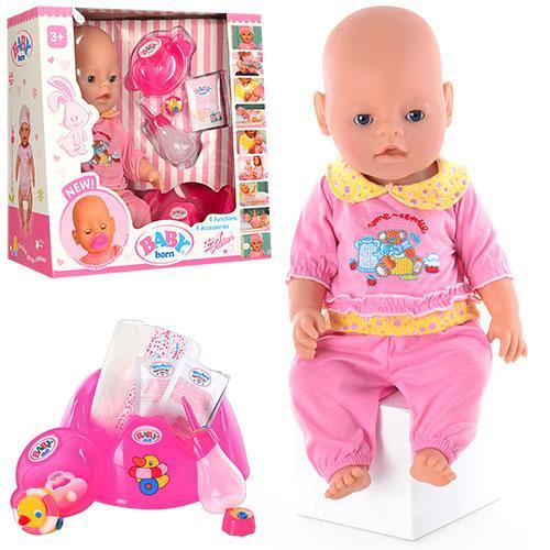 Кукла BB 8001-3  9 функций, 10 аксессуаров, пищалка, горшок, 2 соски,разобр, 38-36-17см