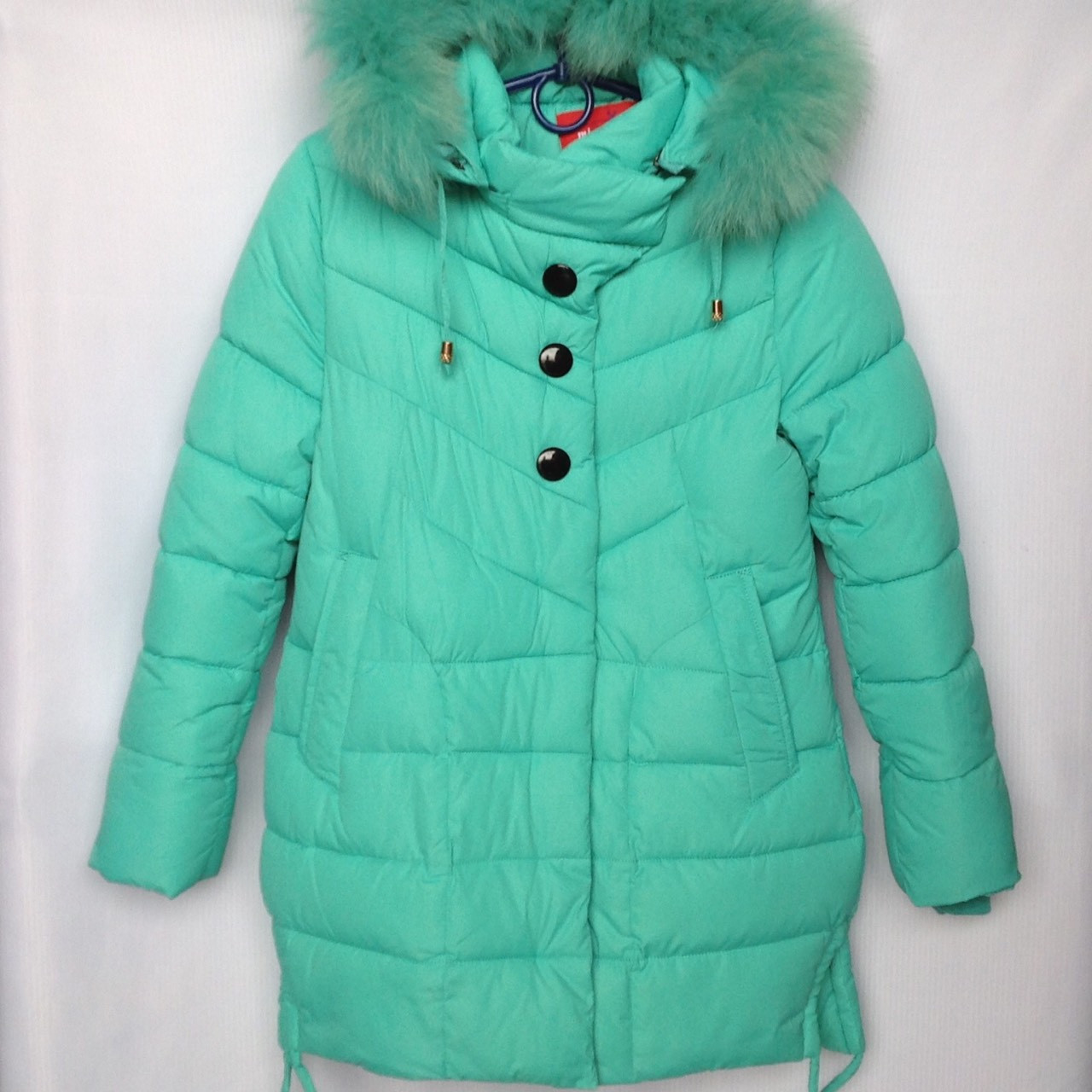 Куртка подростковая зимняя NIKA #6012 для девочек. 134-158 см (9-13 лет). Мятная. Оптом.