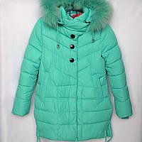 Куртка подростковая зимняя NIKA #6012 для девочек. 134-158 см (9-13 лет). Мятная. Оптом., фото 1