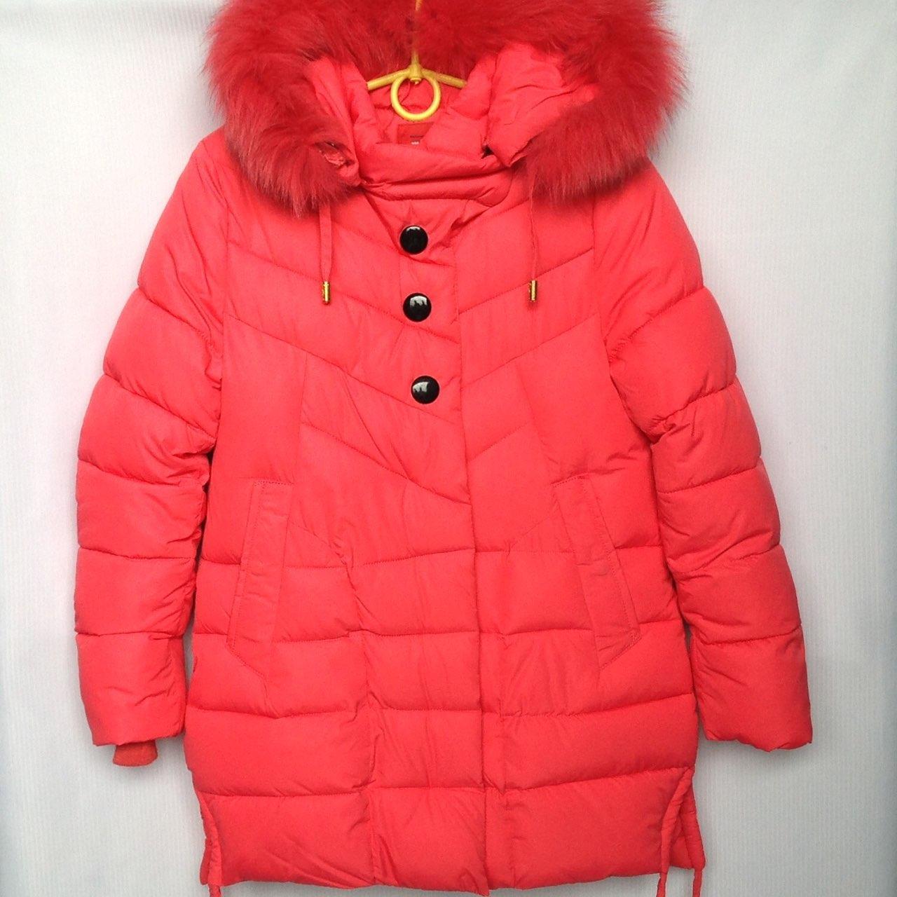 Куртка подростковая зимняя NIKA #6012 для девочек. 134-158 см (9-13 лет). Красная. Оптом.