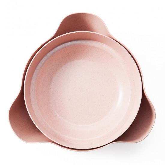 Двойная миска для семечек, орехов розовая