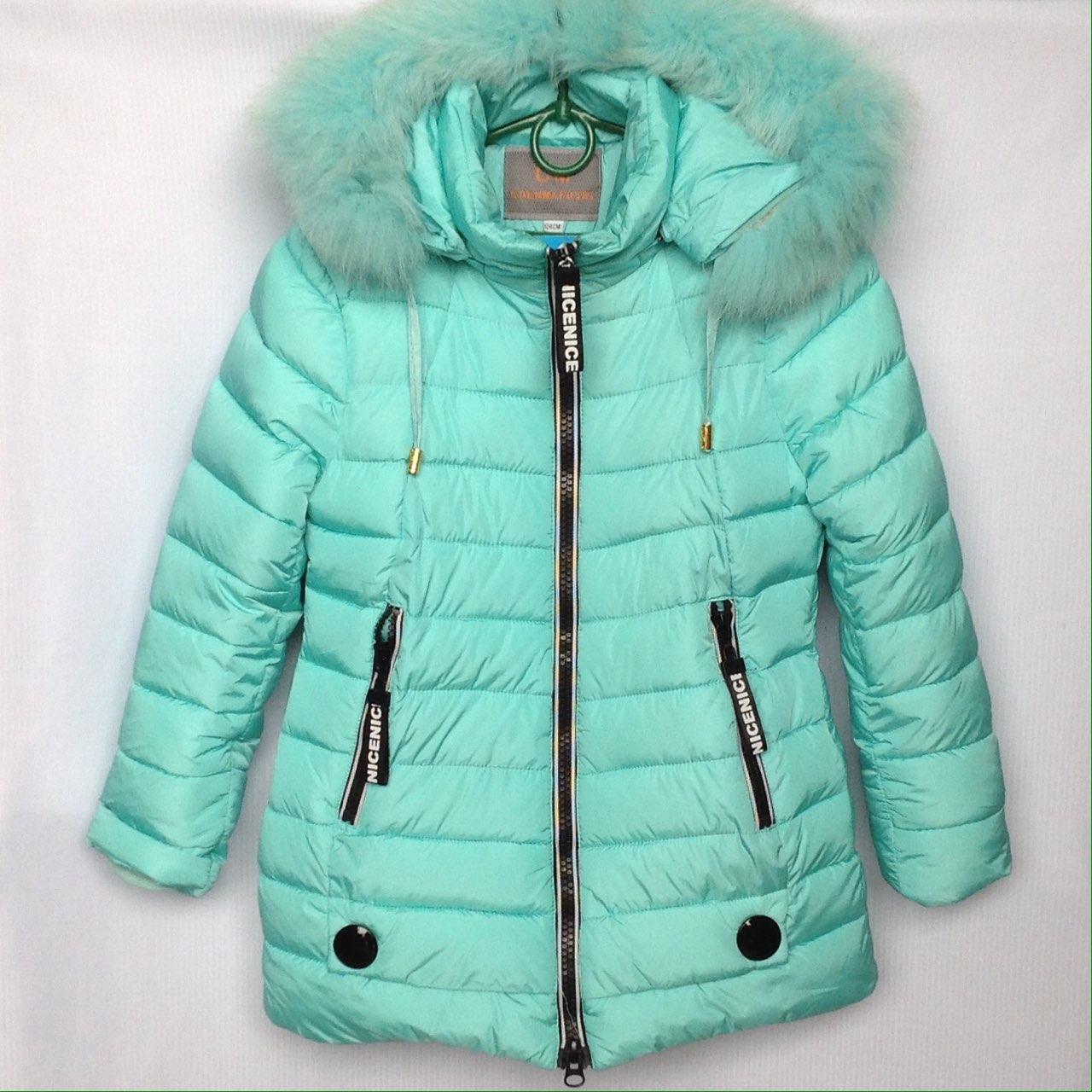 Куртка подростковая зимняя Nice реплика #HM-05 для девочек. 128-152 см (8-12 лет). Голубая. Оптом.