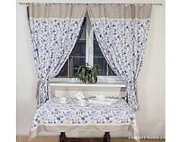 Комплект штор в стиле Прованс с кантом и кружевом Роза синяя