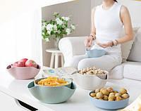 Двойная миска для семечек, орехов бежевая