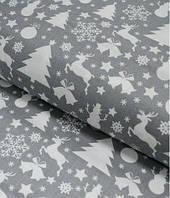 Ткань. Хлопок новогодний серый с елочками и оленями. Отрез 50х40см