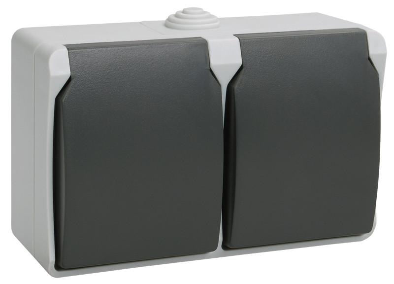 Розетка двомісна із заземленням та кришкою вологозахищена IP54, ІЕК РСб22-3-ФСр ФОРС (ERS22-K03-16-54-DC)