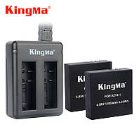 Комплект: Зарядное устройство на два аккумулятора AZ16-1 для Xiaomi YI 4K + 2 аккумулятора AZ16-1 KingMa, фото 1