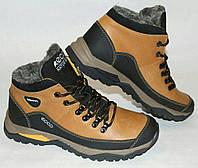 Мужские зимние кожаные ботинки Ecco оливкового цвета (21)