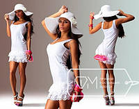 Платье  Молодёжное вискоза с кружевом цвет белый