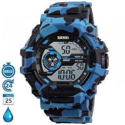 Камуфляжные водостойкие часы Skmei 1233 голубые