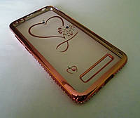 Чехол бампер силиконовый Xiaomi Redmi 4A со стразами и рисунком, фото 1